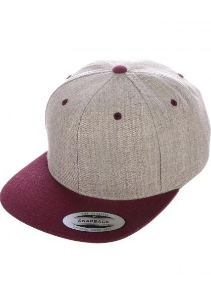 Snapback Cap Flexfit Caps in heathergrey-maroon for Men | Tit