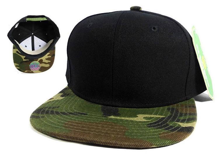 Blank Camo Snapback Hats Wholesale - Black Camoufla