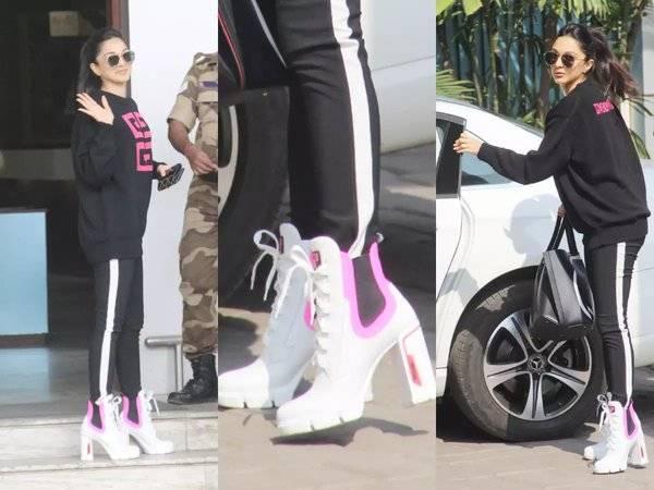 Kiara Advani was spotted wearing Prada sneaker heels in Good Newwz .