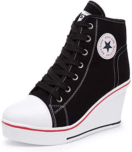 Amazon.com | Hurriman Women's Wedge Sneakers High Heel Canvas .
