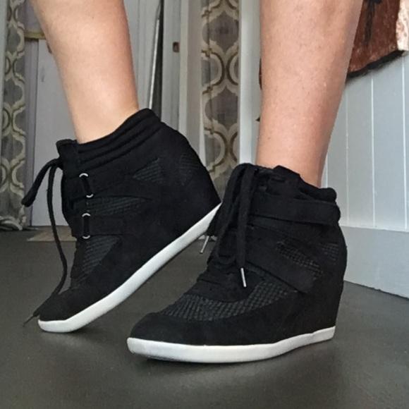 Steve Madden Shoes | Madden Girl Black High Top Sneaker Heels .