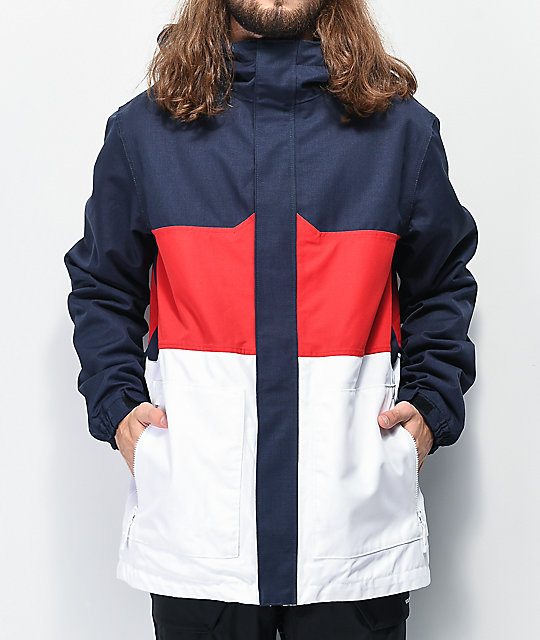 Aperture Peak Red, White & Blue 10K Snowboard Jacket | Zumi