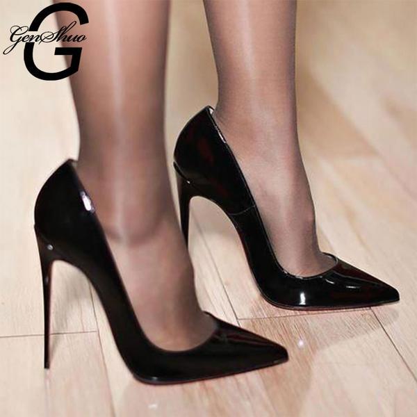 GENSHUO Stiletto Heels Shoes Woman Plus Size 12 2019 Fashion High .
