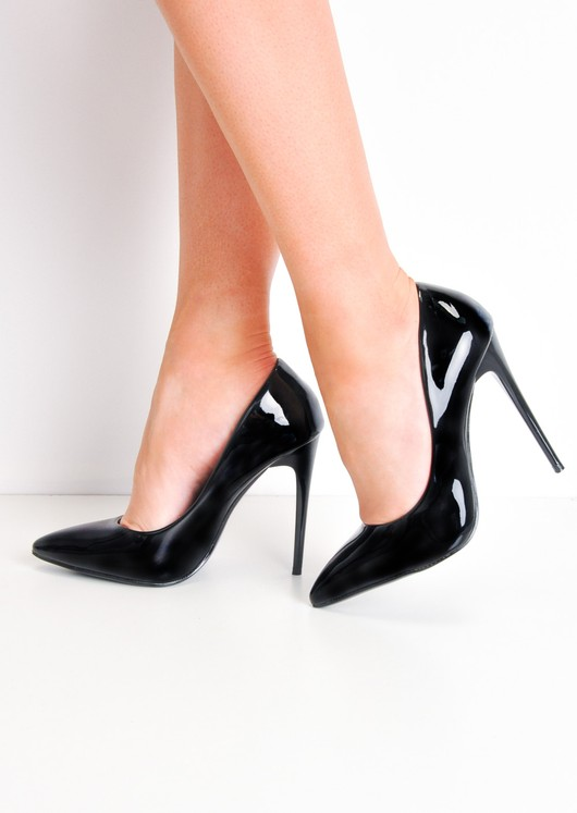 Patent Stiletto Pointed High Heels Black | Lily Lulu Fashi