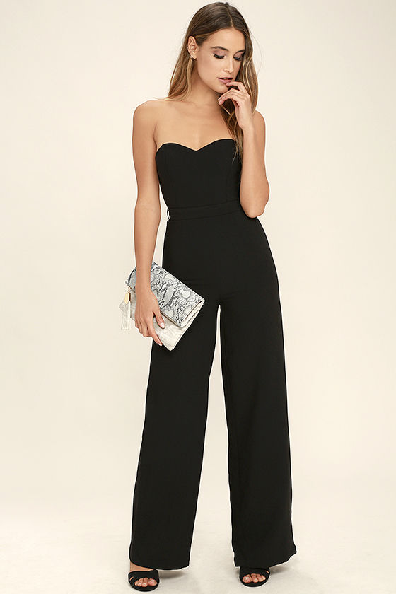 Chic Black Jumpsuit - Wide-Leg Jumpsuit - Strapless Jumpsuit - $74.
