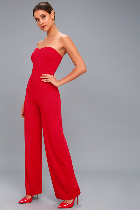 Chic Red Jumpsuit - Strapless Jumpsuit - Trendy Jumpsu