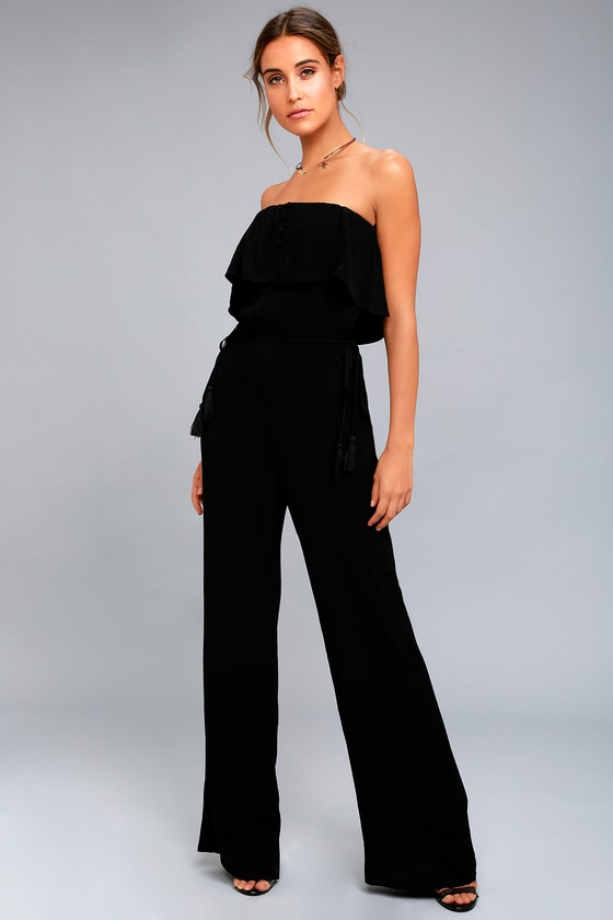 ASTR the Label Paloma - Black Strapless Jumpsuit - Black Tassel .