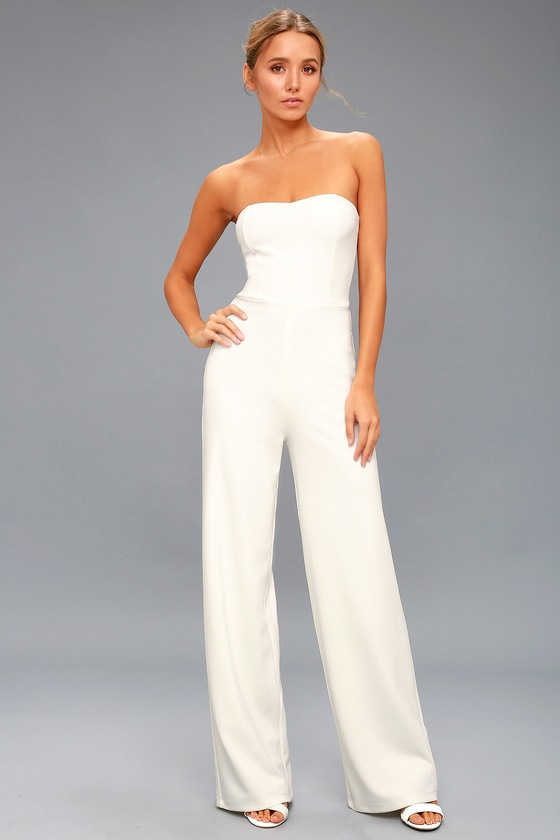 Chic White Jumpsuit - Strapless Jumpsuit - Bridal Jumpsu