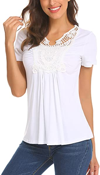Locryz Women Peasant Blouse Short Sleeve Ruched Front Lace Shirt .