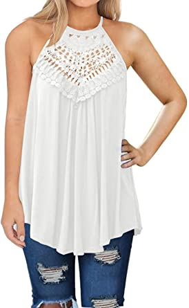 MIHOLL Womens Summer Casual Sleeveless Tops Lace Flowy Loose .