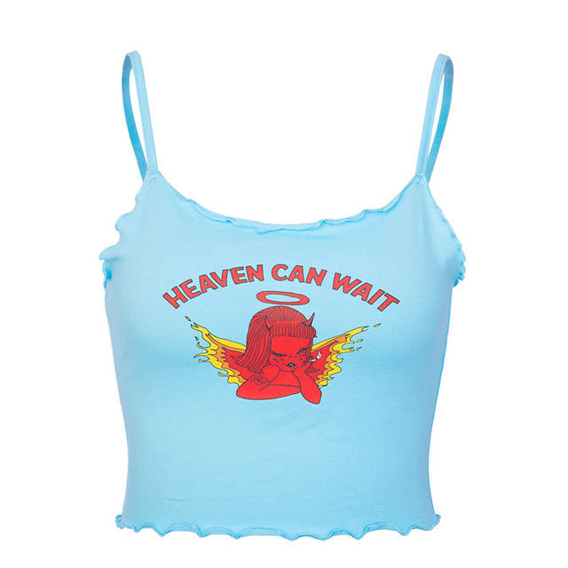 Raisevern Cute Women Crop Top HEAVEN CAN WAIT Print Blue Tee Tops .