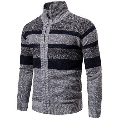 Men's Winter Sweater Plus Velvet Thick Stand Collar Striped Knit .