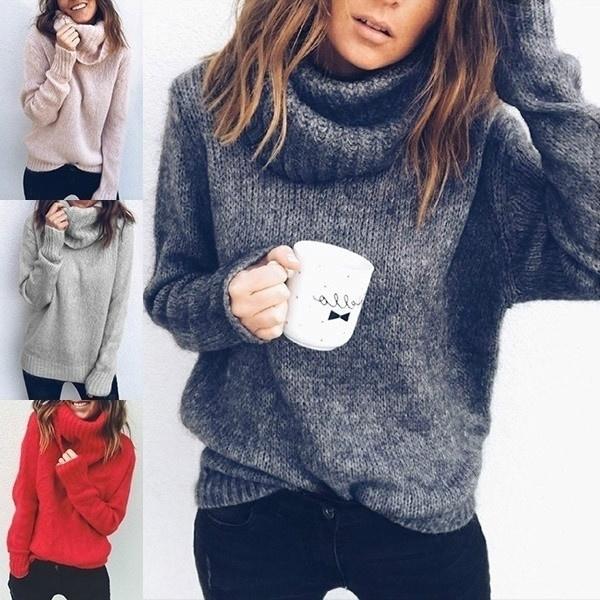 Casual Women Long Sleeve Turtleneck Neck Sweaters Autumn Winter .