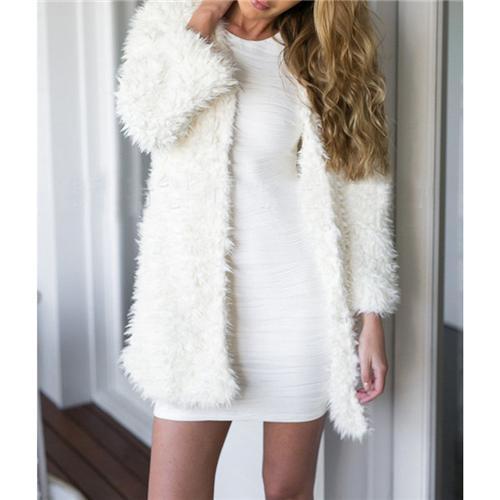 Winter Warm Faux Fur Sweater New Sexy Women White Loose Sweater .