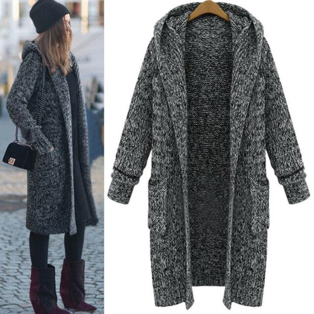 Women Winter Warm Long Sleeve Knitted Cardigan Coat Jacket Outwear .