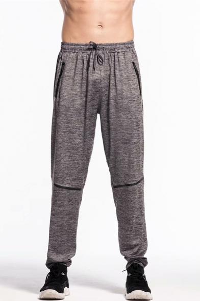 Men's New Fashion Solid Color Zipped Pocket Drawstring Waist Dark .