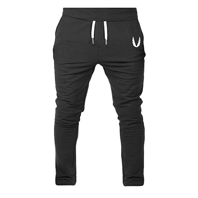 Emerayo Men's Trousers Men's Solid Color Drawstring Open Bottom .