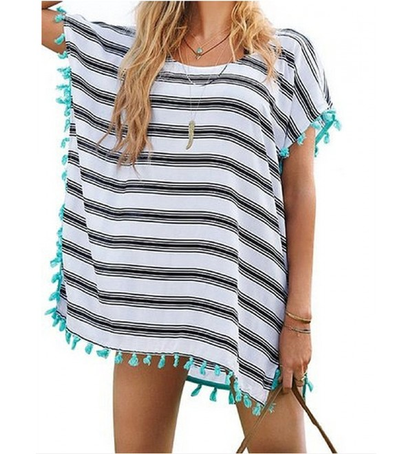 Womens Cover up Bohemia Swimsuit Beach Bikini Coverups - Stripe .