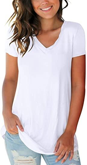 SAMPEEL Women's Basic V Neck Short Sleeve T Shirts Summer Casual .