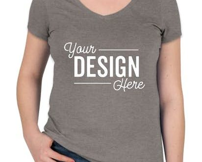 Design Custom Printed District Made Ladies Perfect Tri-Blend V .