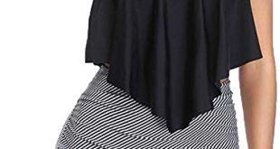 YOMXL Womens Push Up Padded Plus Size 2 Piece Ruffle Tankini .