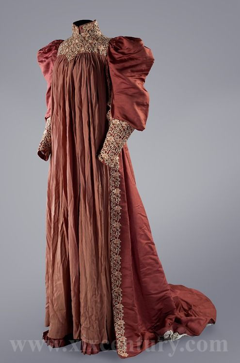 Tea gown, 1890's (source: fripperiesandfobs) | Historical dresses .