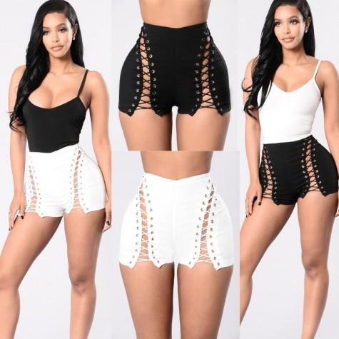 Beach Summer Shorts Black White Belt High Waist Women Ladies .