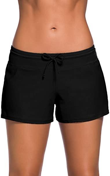 FIYOTE Women Sports Summer Bottom Slit Swim Beach Board Shorts at .