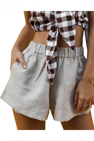 Womens Summer Fancy Simple Plain Elastic Waist Linen Loose Wide .