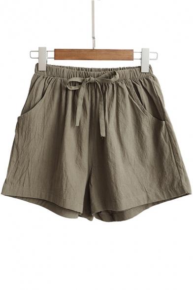 Summer Trendy Drawstring Waist Linen Loose Pull-On Shorts for .