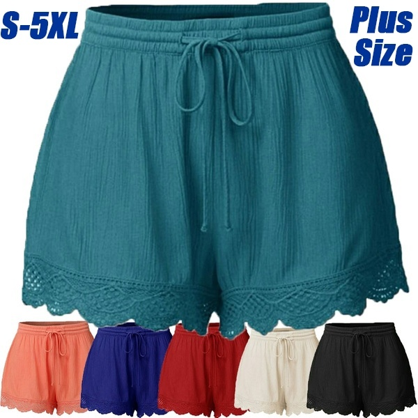 Women's Fashion Lace-up Solid Summer Shorts Ladies Casual Short .
