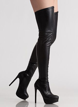 Tall Girl Faux Leather Thigh-High Boots | Leather thigh high boo