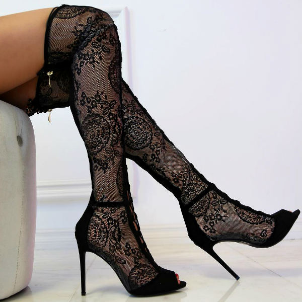 Black Lace Thigh High Boots - MyShoeBaz