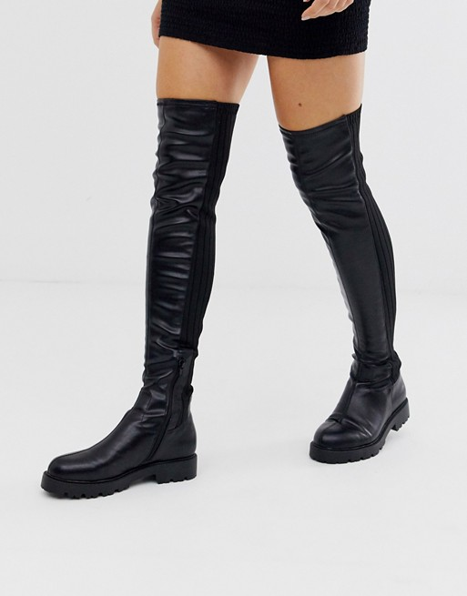 ASOS DESIGN Kick Start flat thigh high boots in black knit mix | AS