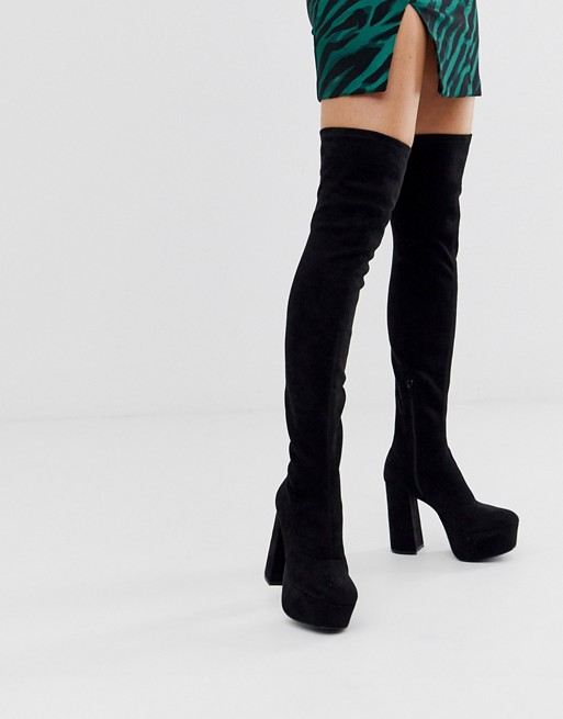 ASOS DESIGN Knockout platform thigh high boots in black | AS