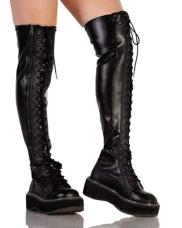 Demonia Thigh High Lace Up Boots - iHeartRav