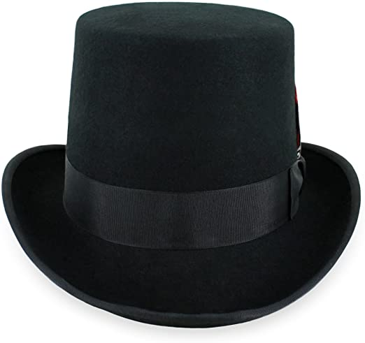 Mens Top Hat Satin Lined Topper by Belfry 100% Wool in Black Grey .