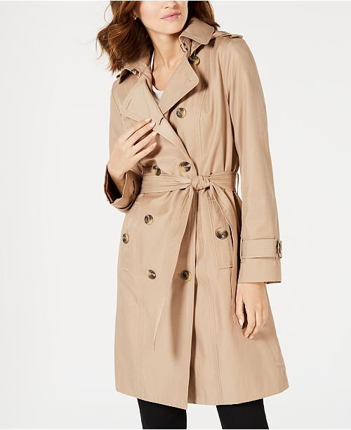 London Fog Petite Double-Breasted Trench Coat, Created For Macy