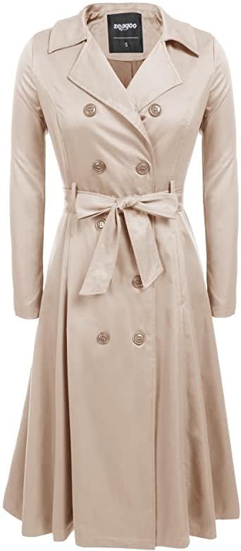 Amazon.com: Zeagoo Women's Trench Coats Double-Breasted Long Coat .