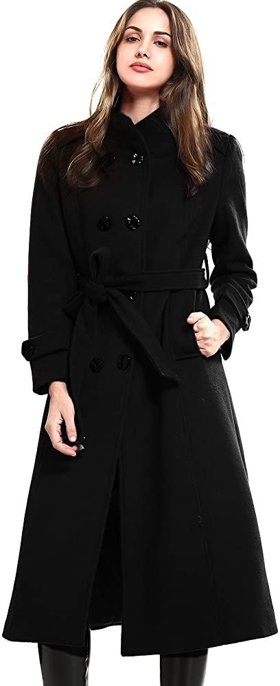 Amazon.com: Escalier Women's Wool Trench Coat Double-Breasted .