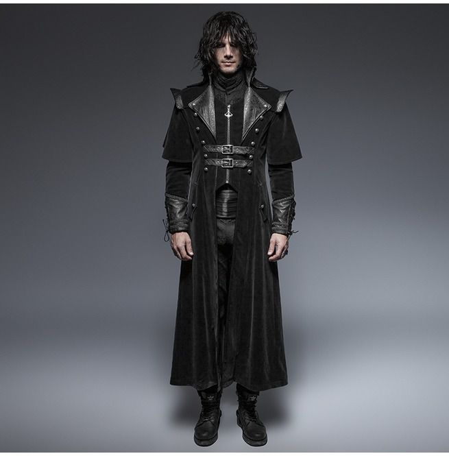 Black Leather Long Gothic Trench Coats With Belts | RebelsMark
