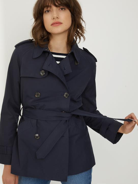 Women's short trench coat - ink, Wom