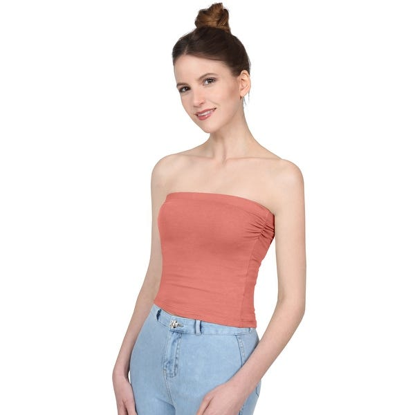 Shop NE PEOPLE Women's Basic Casual Scrunched Side Crop Tube Tops .
