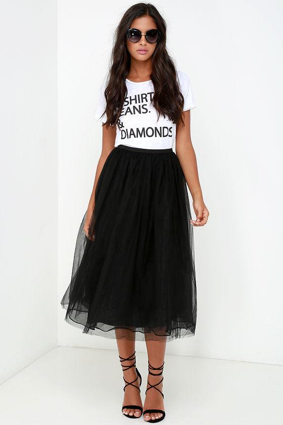Tulle Skirt - Black Skirt - High-Waisted Skirt - $78.