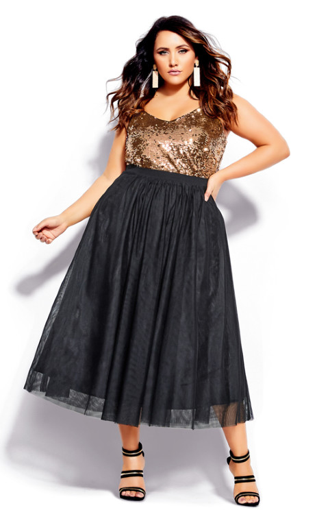 Shop Women's Plus Size Plus Size Midi Tulle Skirt - bla