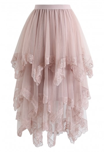 Lace Hem Asymmetric Layered Tulle Skirt in Pink - Retro, Indie and .