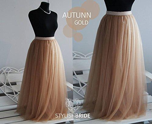 Amazon.com: Autumn Gold #9 Long Tulle Skirt Casual Floor length .