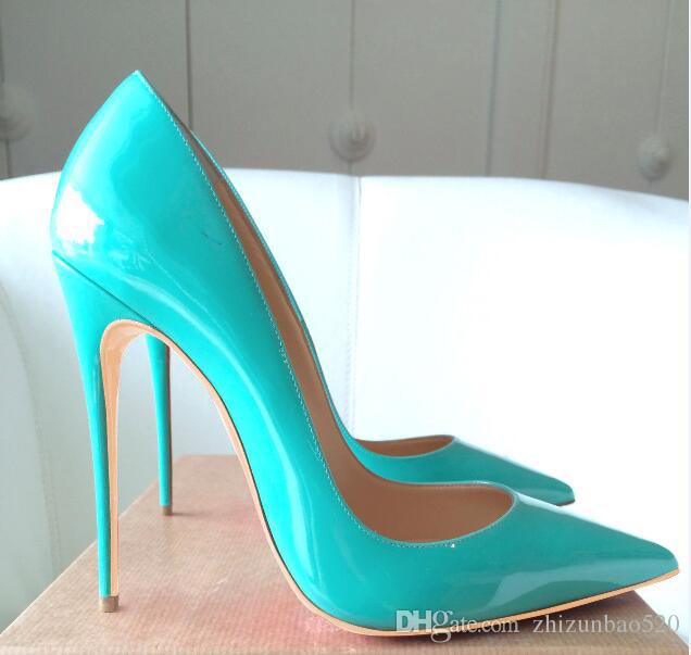 Casual Designer Sexy Lady Fashion Women Pumps Turquoise Patent .