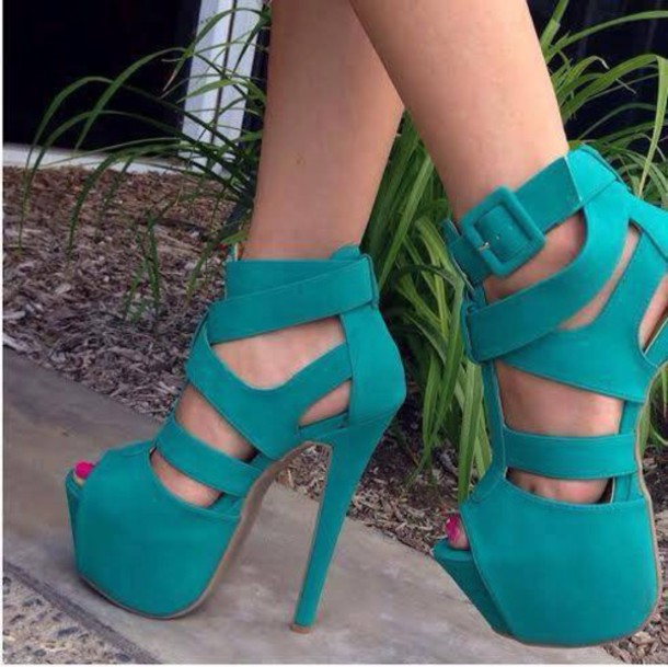 heels, high heels, platform shoes, turquoise, shoes, high heel .