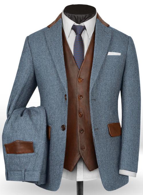 Vintage Herringbone Blue Tweed Suit - Leather Trims : StudioSuits .